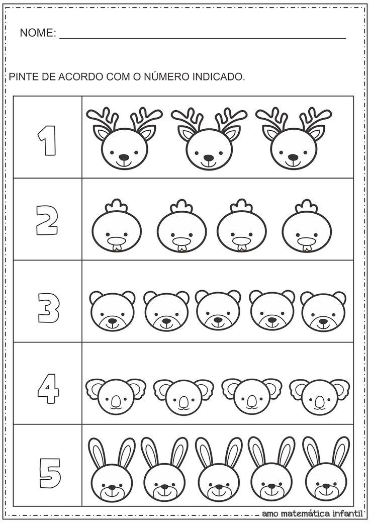 Matemática Infantil: Número e Quantidade Pintura Animais Atividade