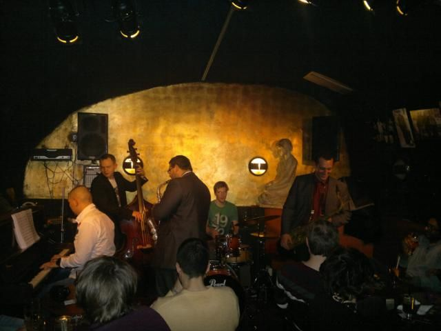 slightly irish style pub but with fantastic food and a good jazz club in the basement