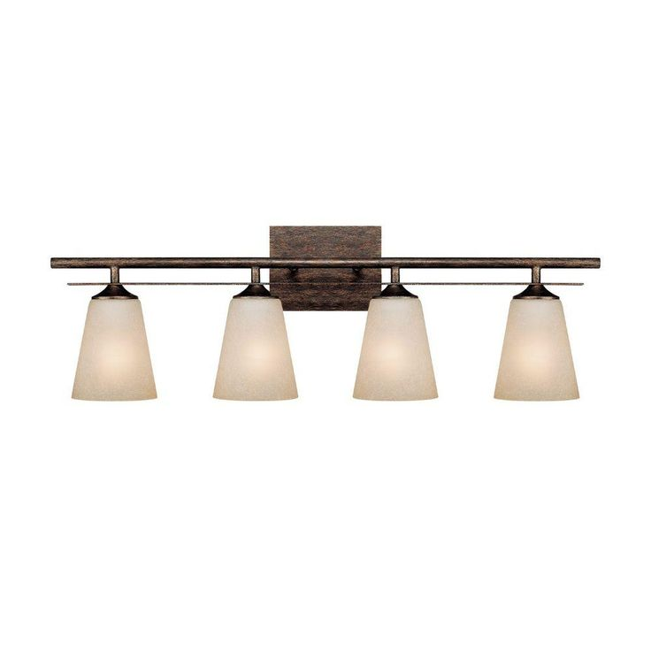 Filament Design 3-Light Rustic Vanity Light with Mist Scavo Glass