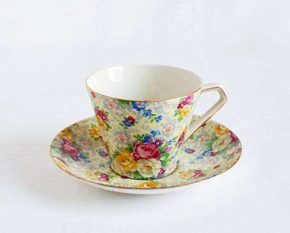 Lord Nelson Ware -Vintage Tea Cup and Saucer in Chintz China by QuaintCollectorVintage Tea Cups, Pretty Cups, Teas Cups, Saucer, Pretty Things, Chintz China Pretty, Teacups
