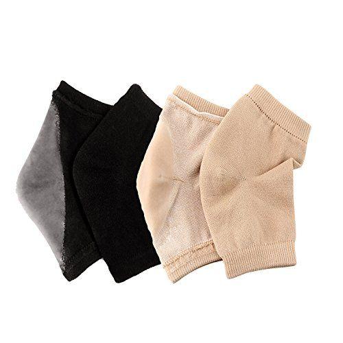 Urbun 2 Pairs Gel Moisturizing Socks Soft Repair Dry Cracked Heel Skin BrownBlack -- Click image to review more details.