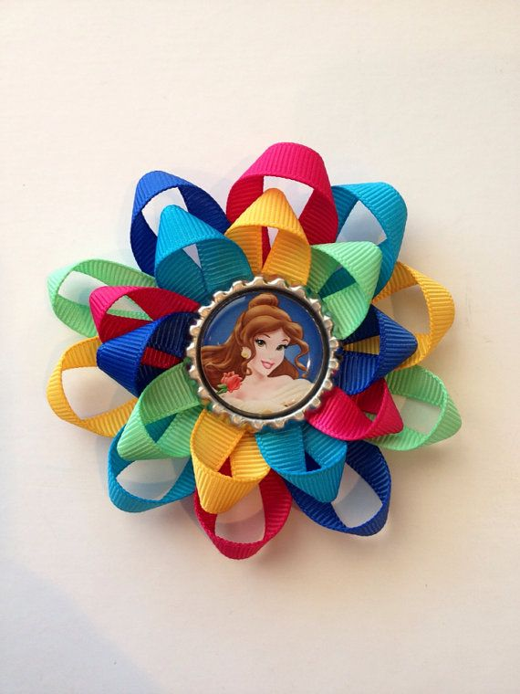 Princess Belle Hair Bow. Beauty and the Beast Bottle Cap Hair Bow on Etsy, $5.00
