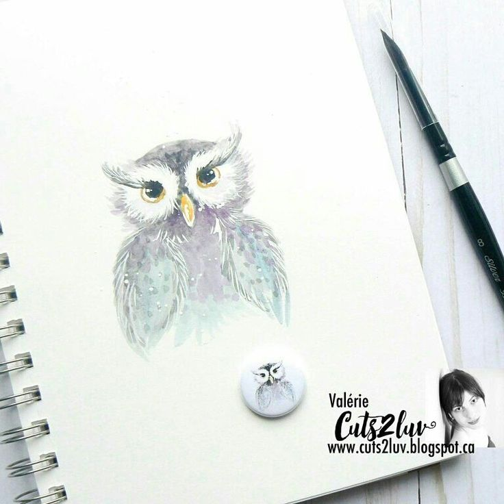 Watercolor owl Cuts2luv flair