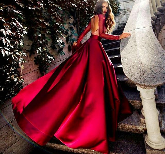 red shiny gown