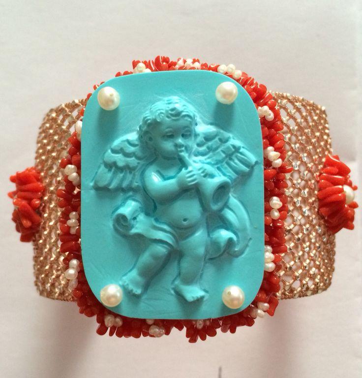 Turquoise Cherub 925*** silver bangle