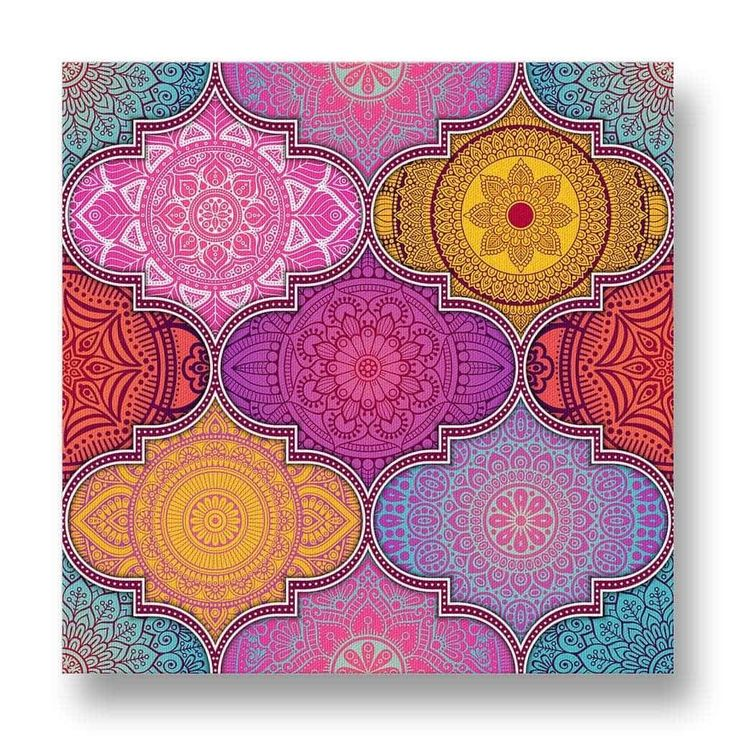 Ethnic Pattern Canvas Print.  A floral canvas print with a pink-purple undertone adds a feminine touch to this artwork.  The floral designs are arranged in interesting symmetric geometric patterns.