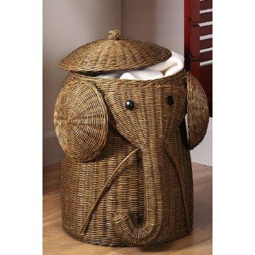Rattan Elephant Hamper- would look so cute in Ella's room with all her Safari stuff!