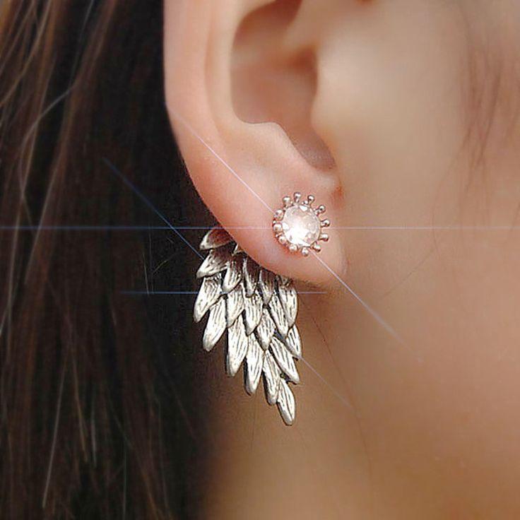 ES101 vrouwen Engelenvleugels Oorknopjes Rhinestone Ingelegd Legering Oor Sieraden Party Earring Gothic Feather Brincos Fashion 2017