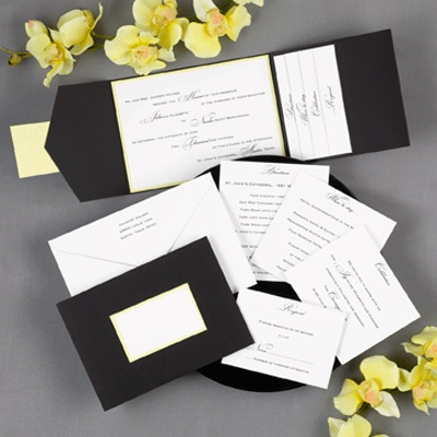 Black And Yellow Pocket From Carlson Craft   Your Invitation Wording Is  Elegantly Surrounded By A