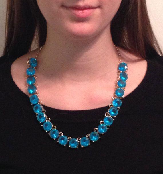 Blue Stone Necklace, Blue Statement Necklace, statement necklace, blue rhinestone necklace, blue bubble necklace, crystal necklace