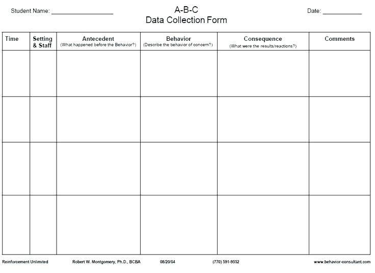Free Printable Blank Abc Chart This Is An A B C Data Collection