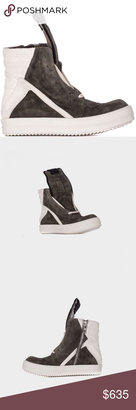 """Rick Ownes High Sneakers """"Geobasket"""" suede Tip Round Grey Leather Suede 