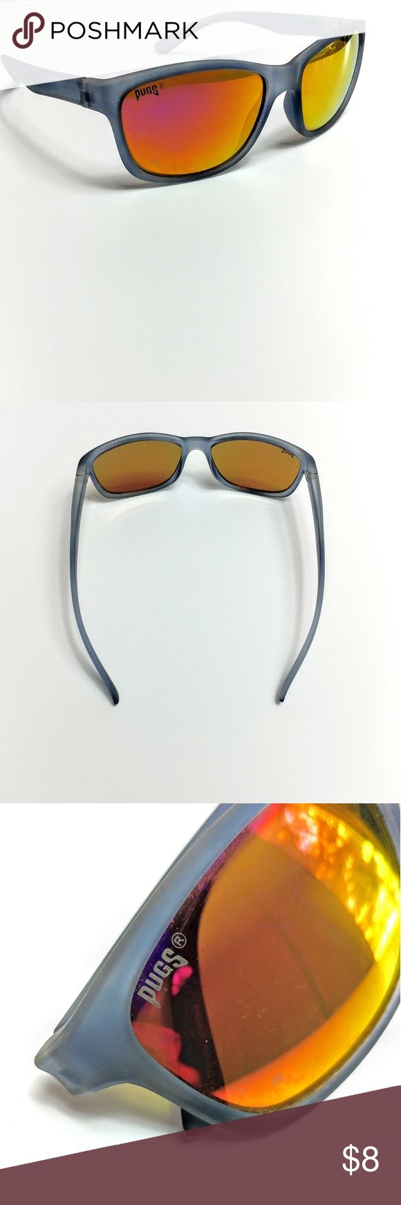Pugs Sunglasses UV Protection  Has scuffs (pictured) Frames are a dark gray color and lenses a blend of pink and yellow Pugs Accessories Glasses