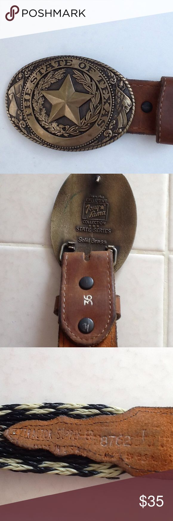 TONY LAMA TEXAS BELT AND BUCKLE 🐎 VINTAGE A vintage trophy belt from Ole' Texas Tractor Company.  Registered and numbered as to authenticity.  Unusual and in good condition.  Belt is of hemp and leather. Accessories Belts
