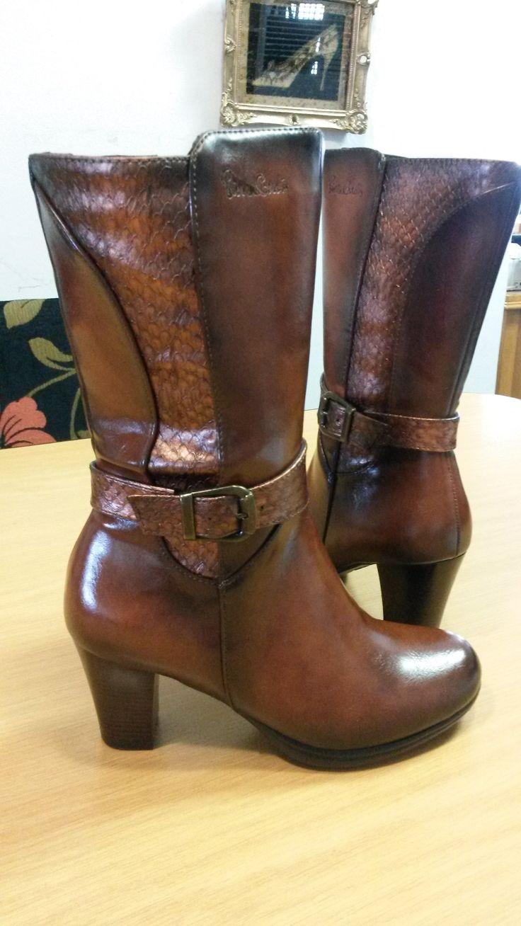 Brown Half Boot with Medium Heel Boot by Pierre Cardin