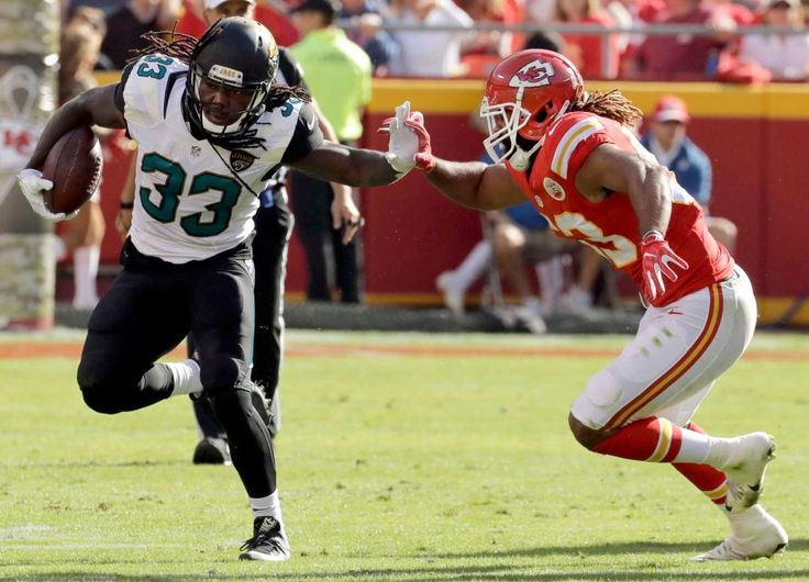 Jaguars vs. Chiefs  -  19-14, Chiefs  -  November 6, 2016  -   Jacksonville Jaguars running back Chris Ivory (33) carries the ball against Kansas City Chiefs linebacker Ramik Wilson (53) during the first half of an NFL football game in Kansas City, Mo., Sunday, Nov. 6, 2016.