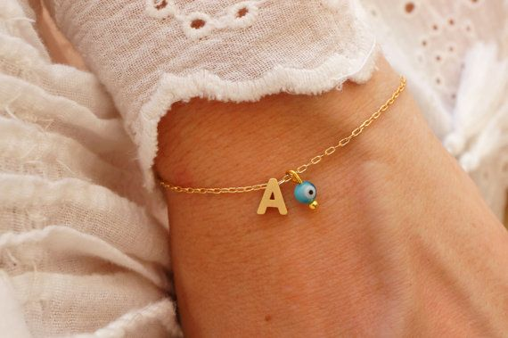 Monogram Bracelet - Initial Bracelet - Turquoise Evil Eye Bracelet - Matte Gold Personalized Bracelet - Name Bracelet - Alphabet Bracelet