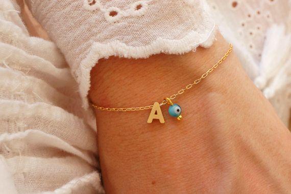 Monogram Bracelet  Initial Bracelet  Turquoise Evil Eye Bracelet by minifabo
