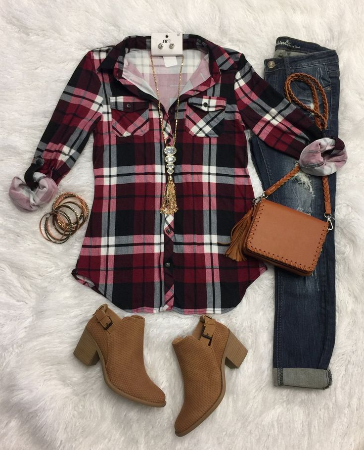 Penny Plaid Flannel Top: Black/Burgundy from privityboutique