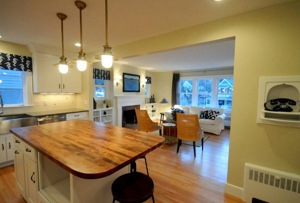 totally open between the dining room and the kitchen.Cape Cod in Maine Remodel AFTER (5)
