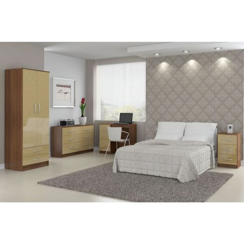 Lynx Walnut and Cream 4 Door 2 Drawer Mirrored Wardrobe – Next Day Delivery Lynx Walnut and Cream 4 Door 2 Drawer Mirrored Wardrobe from WorldStores: Everything For The Home