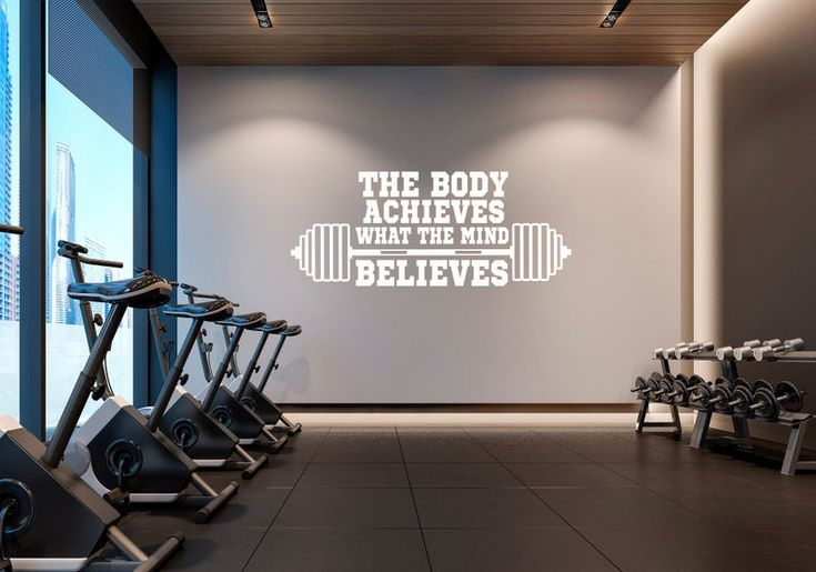 Gym Wall Decal The Body Achieves What The Mind Believes Etsy Gym Wall Decal Gym Wall Quotes Gym Decor