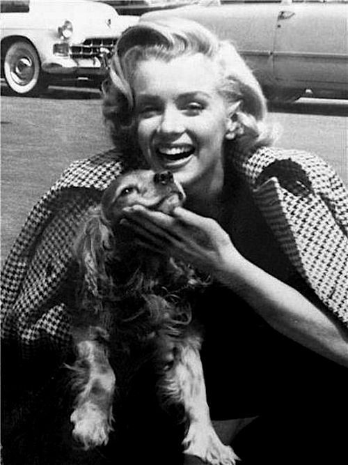 Marilyn Monroe and her Cocker Spaniel