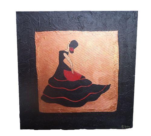 soledad la danseuse de sevillane peinture acrylique sur toile coton cadre bois de 30cm x 30cm x. Black Bedroom Furniture Sets. Home Design Ideas