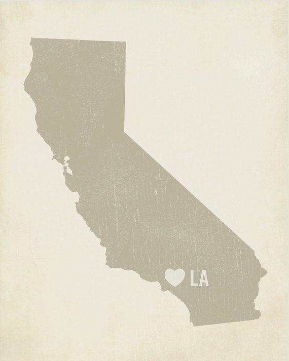 I Love LA 8x10 Art Print - Los Angeles California City State Heart