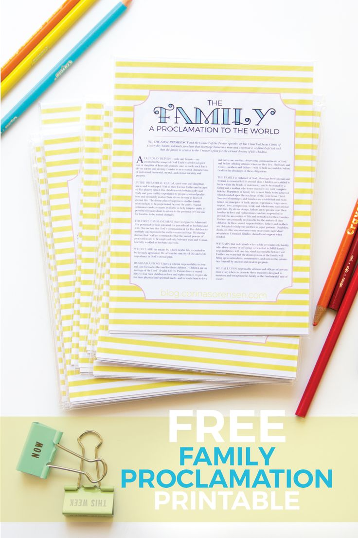 Corina's Corner - Family Proclamation or a Proclamation to the World, free download printable, LDS:
