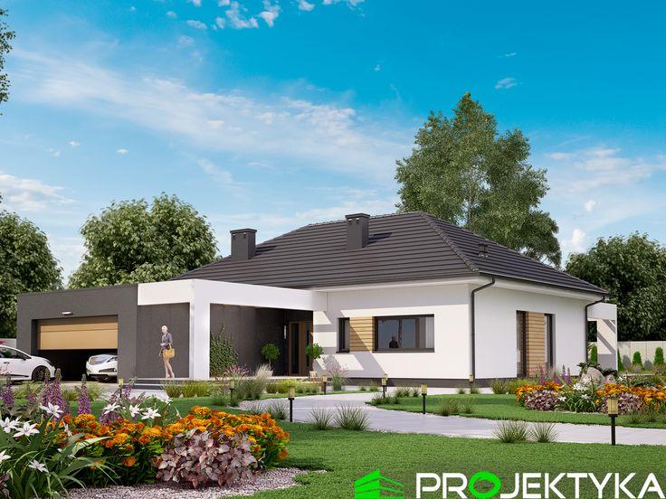 🏡Nowoczesny projekt domu parterowego wykonany w technologii murowanej🏡 Ka22 http://bit.ly/projekty-parterowe 🔸kuchnia ze spiżarnią 🔸salon połączony z jadalnią, powierzchnia ok. 35 m2 🔸dwustanowiskowy garaż z kotłownią