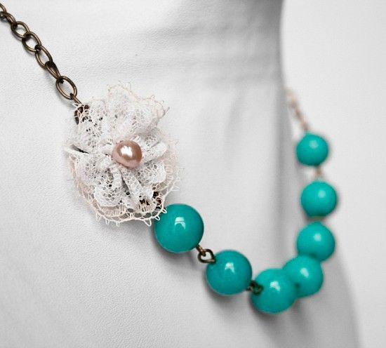 Turquoise and lace necklace