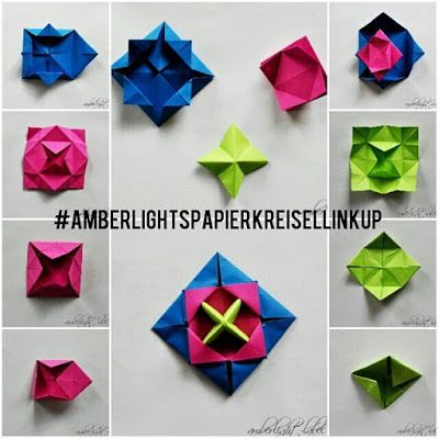 Kindergeburtstag basteln Origami Papierkreisel Kreisel falten Makotokoma Spinning Top Anleitung Tutorial