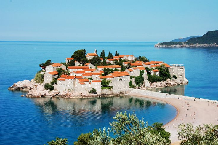 Montenegro, the Aman Sveti Stefan resort is set on a three-acre island, with luxurious suites, spas, and dining in repurposed 15th-century cottages.