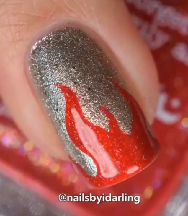 Amazing Macro by @Nailsbyidarling using our Fire Nail Vinyls found at snailvinyls.com