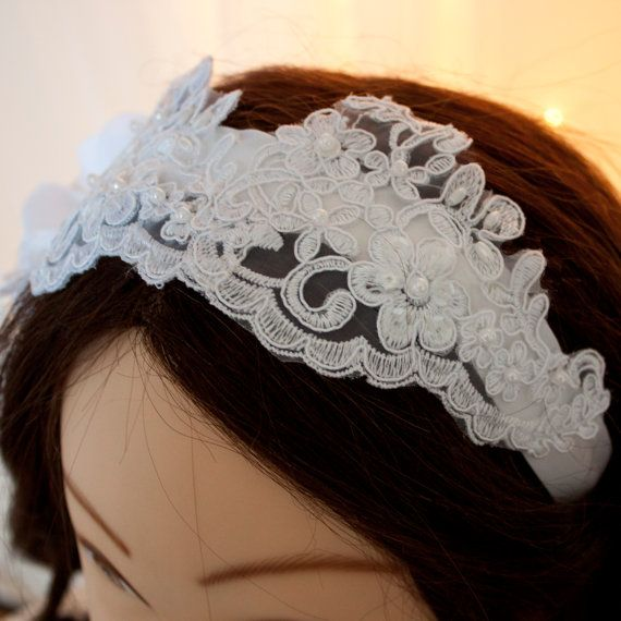 Beaded white lace headpiece