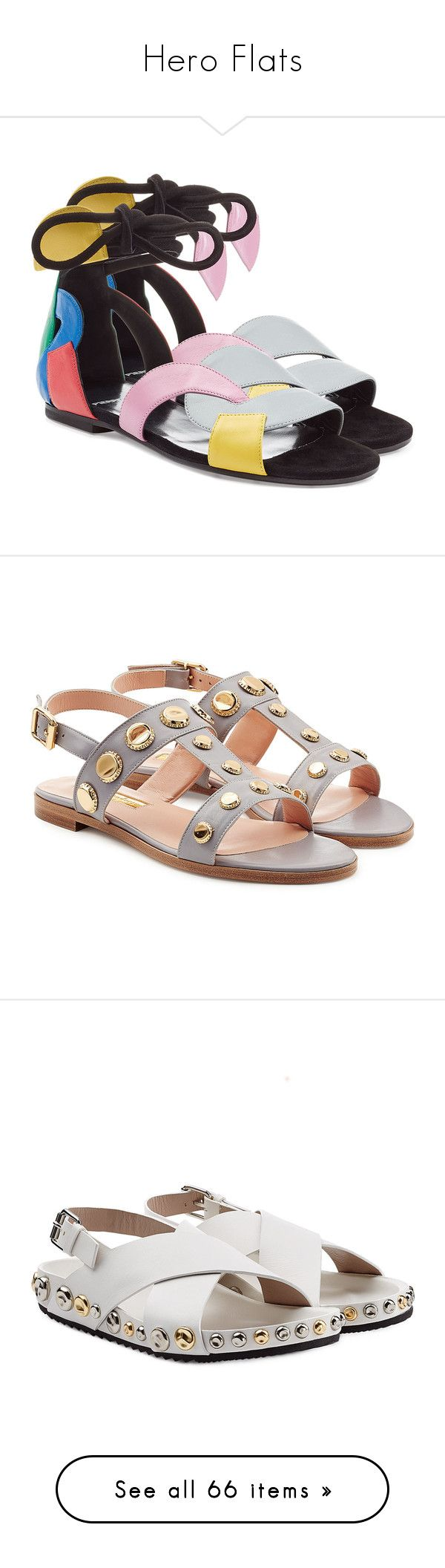 """""""Hero Flats"""" by stylebop ❤ liked on Polyvore featuring shoes, sandals, multicolor, block-heel sandals, ankle strap shoes, multi color sandals, tie sandals, ankle strap sandals, mauve and leather shoes"""