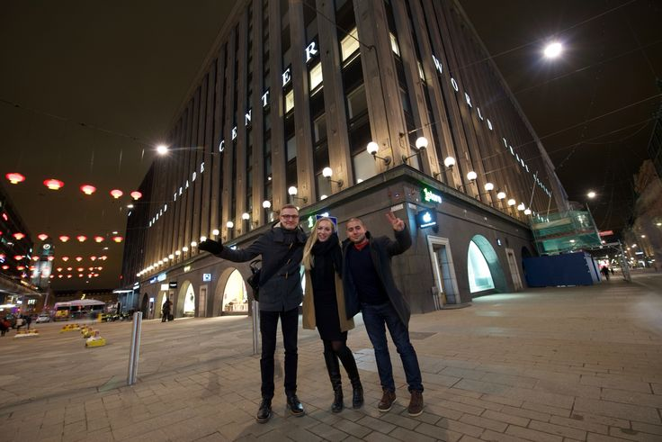 Happy people! Jari, Sarianne and Daniel in front of our office on friday evening.