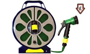 Groupon - 50ft Flat Hose Pipe and Reel with Spray Gun for €14.99 (47% Off). Groupon deal price: €14.99