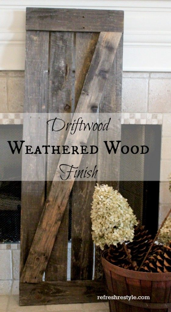 Create a Driftwood Weathered Wood Finish.  This is much faster than the barnboard finish I have posted but is it cost efficient?  Will research when the time comes to do my projects.  But this is definitely super easy and super quick.