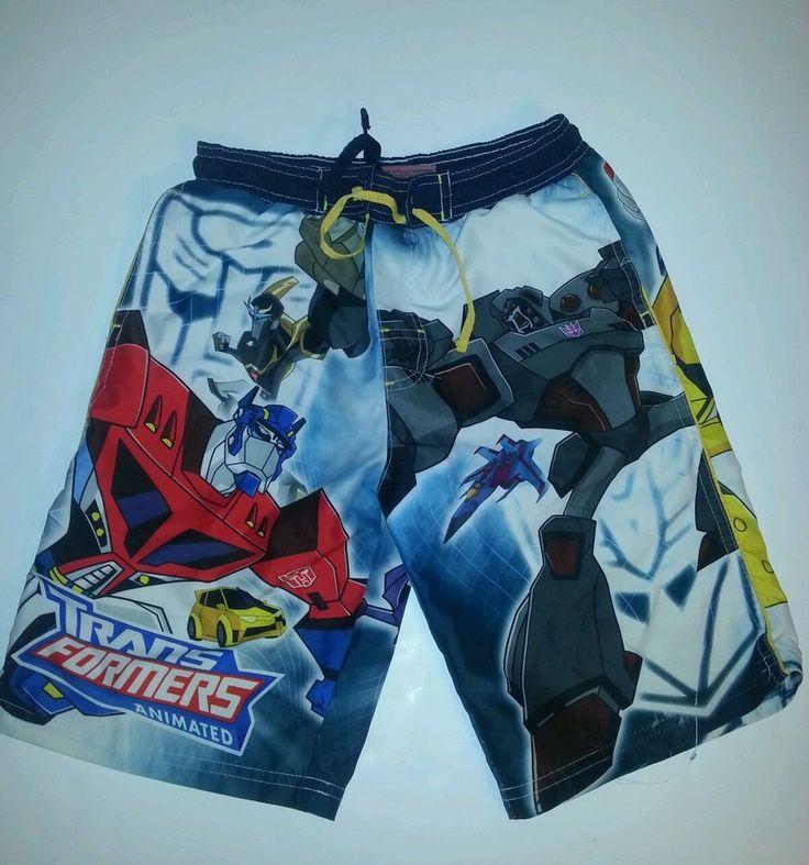 Boys Tranformers Swim Trunks Suit Optimus Bumblebee Size Small 6 - 7 EUC  #TRANSFORMERS #SwimShorts