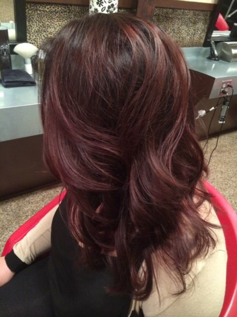 shiny cool brown base hair color with red-violet balayage ...