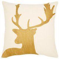 "Crewel Gold & Ivory Deer Pillow Cover - 18"" x 18"""