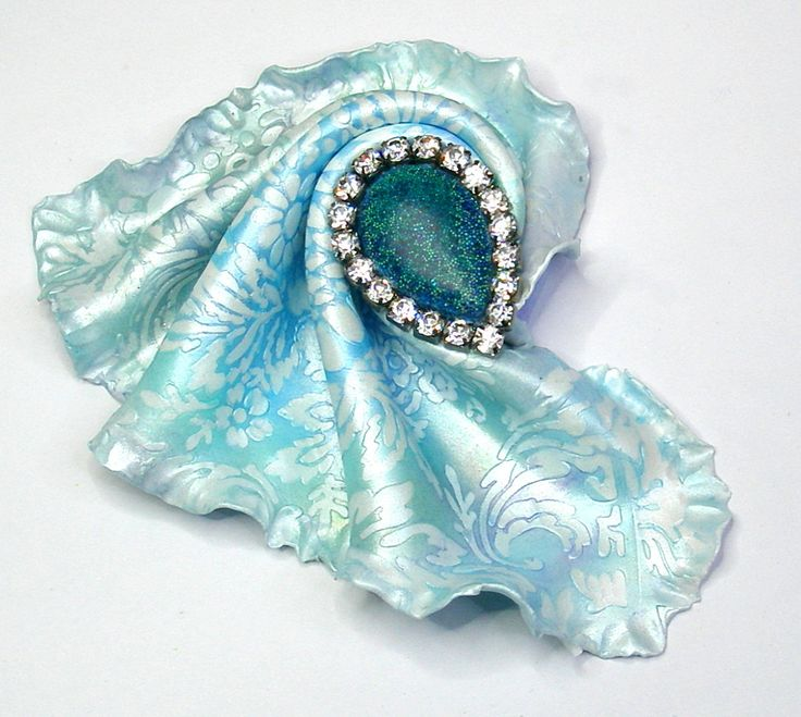 """BREEZE - Handmade polymer clay brooch - """"Cloth' technique by 1000and1 on Etsy"""
