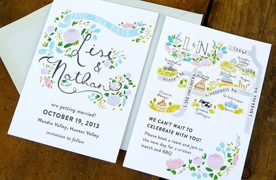 Save the Date Etiquette & Ideas on Borrowed & Blue.  Photo Credit: Jolly Edition