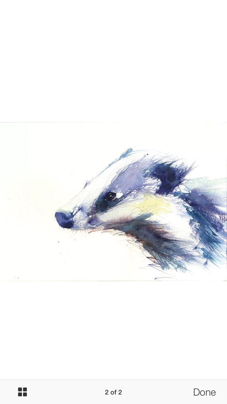 Badger In Watercolour  Tattoo Ideas Pinterest