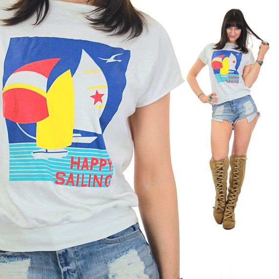 80s Nautical shirt Sailing shirt Nautical tee von SHABBYBABEVINTAGE