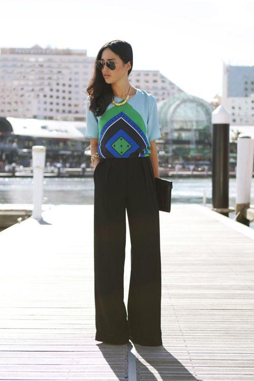 Bright graphic shirt and wide leg pants