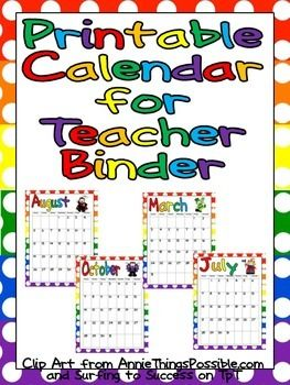 This FREE colorful month-by-month calendar can easily be printed to add to your lesson plan binder!! I hope you find this organizational tool useful for your classroom :) I would love for you to leave feedback or follow my store for future updates!!UPDATE: This file has been updated for the 2015-2016 school year :)Thanks for looking and happy teaching!!Annie Lang images included with permission www.anniethingspossible.com