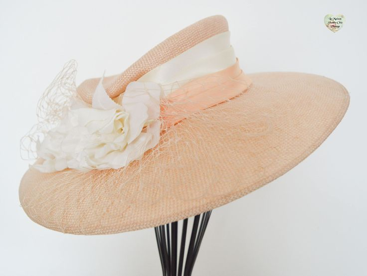 New Peach Cream Silk Flowers Vintage Luxury Net, Special, Fascinator, Wedding, Races, Formal, Church, Occasion, Mother Bride, Sample Hat by LaMaisonShabbyChic on Etsy
